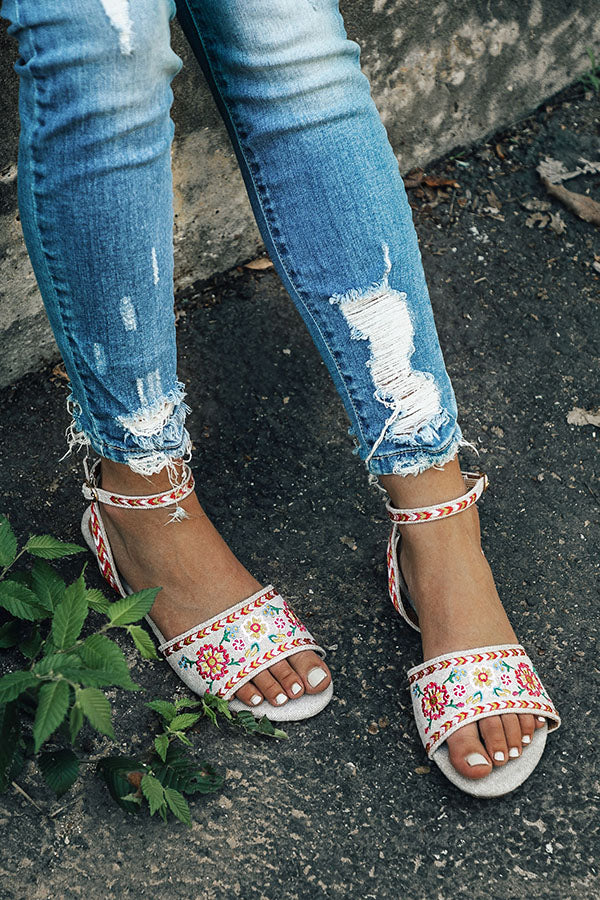 The Aria Embroidered Sandal in Birch