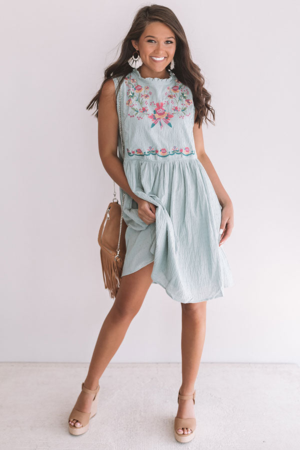Maui Embroidered Shift Dress In Ocean Wave