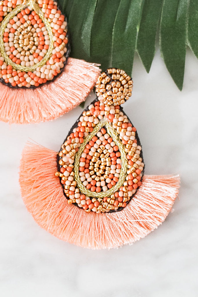 Pinot Please Earrings In Peach