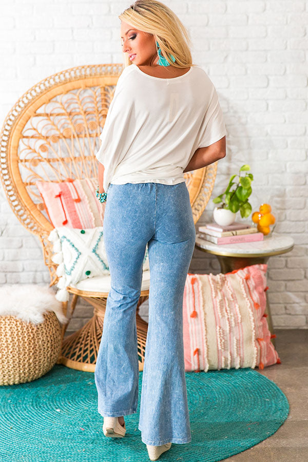 All The Stops Flare Pants In Airy Blue
