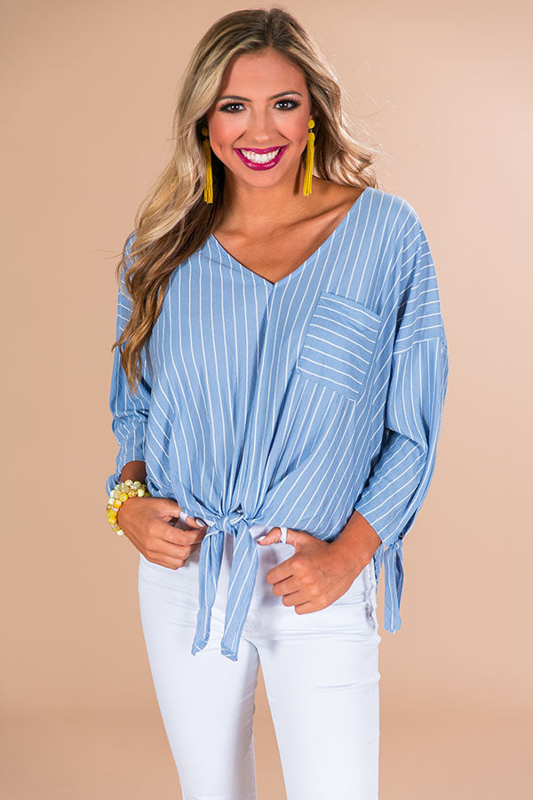 Sippin' At Sunset Stripe Top in Airy Blue