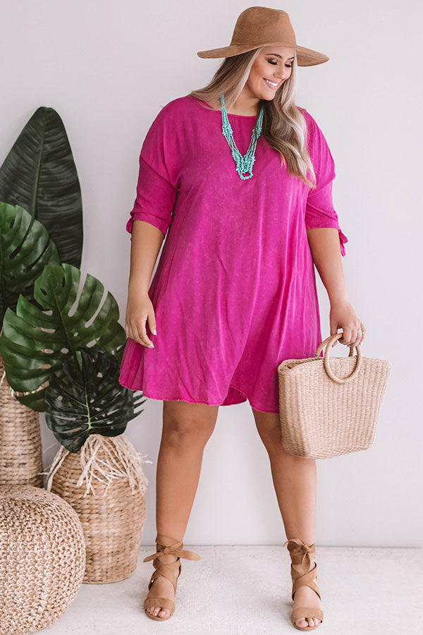 Sangrias Seaside Shift Dress in Hot Pink