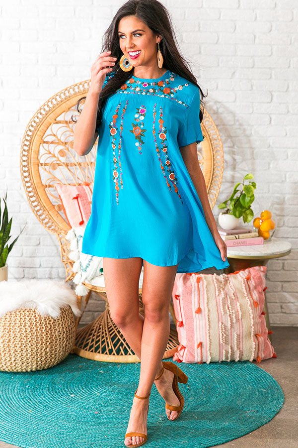 Pina Colada Please Embroidered Shift Dress in Ocean Blue