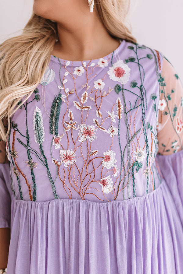 Malibu Mimosas Embroidered Shift Dress in Lavender