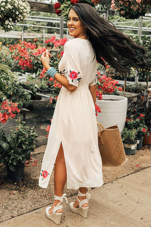 Barefoot On The Beach Embroidered Midi in Cream