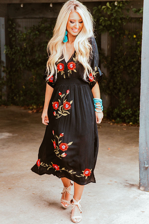 Barefoot On The Beach Embroidered Midi in Black
