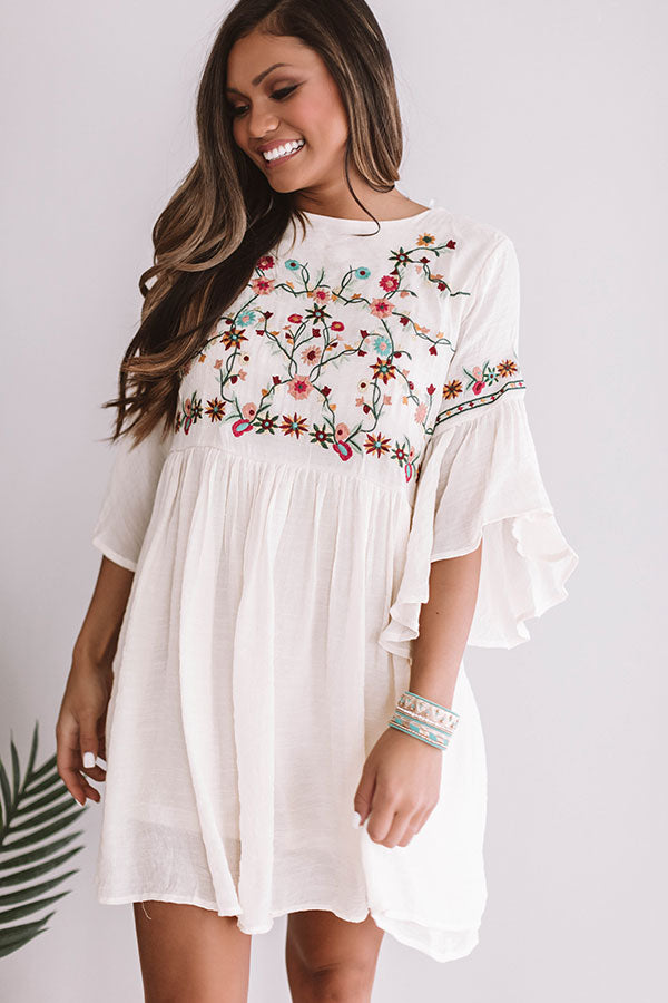 Date Night In Paradise Embroidered Dress in Cream
