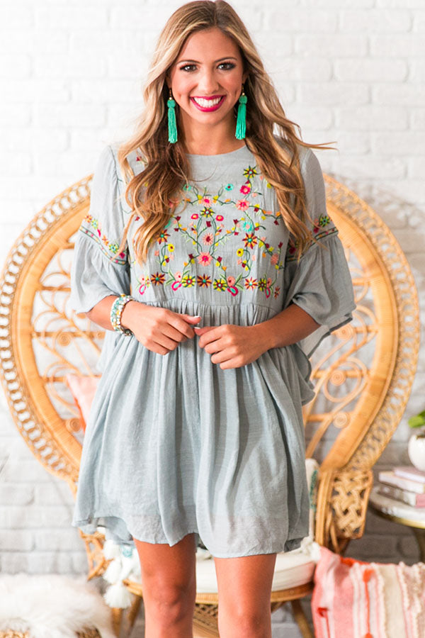 Date Night In Paradise Embroidered Dress in Grey