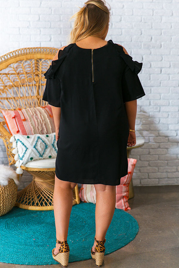 Cabo Kisses Ruffle Dress in Black