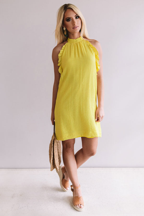 Positively Perfect Halter Shift Dress in Yellow