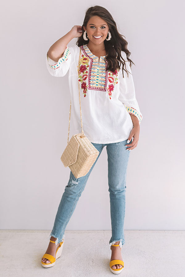 Tahiti Time Embroidered Top