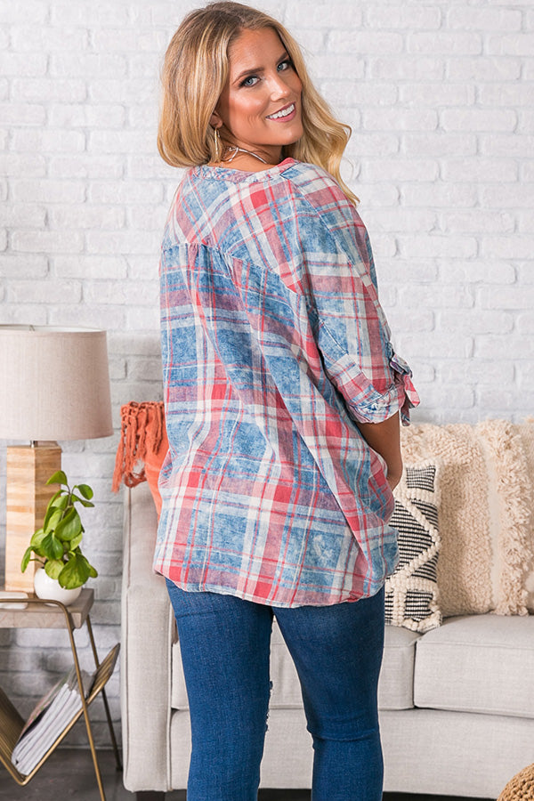 Breeze The Day Plaid Top