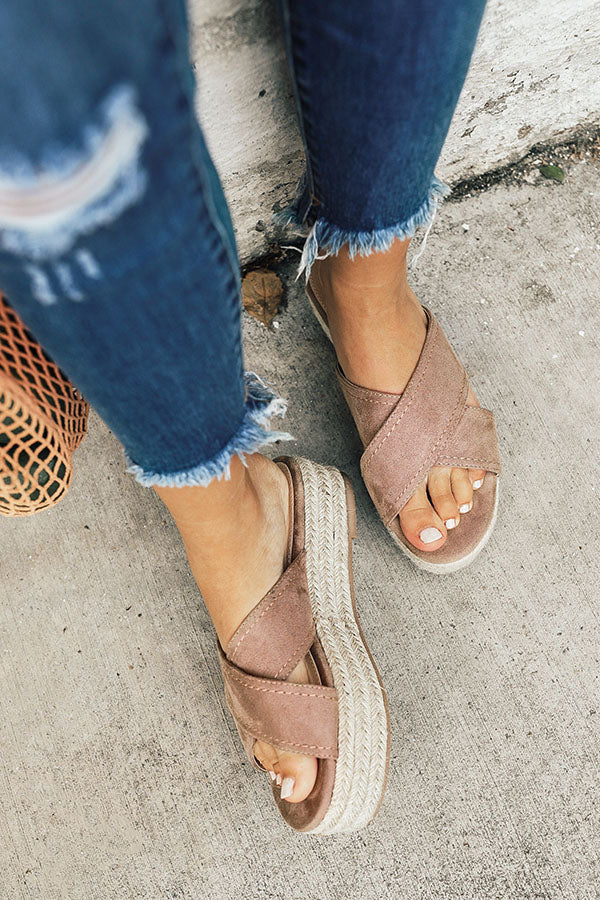 The Hudson Faux Suede Espadrille In Taupe