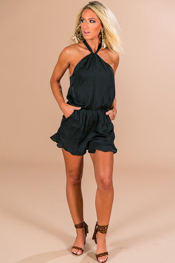 Luxe Travels Romper in Black
