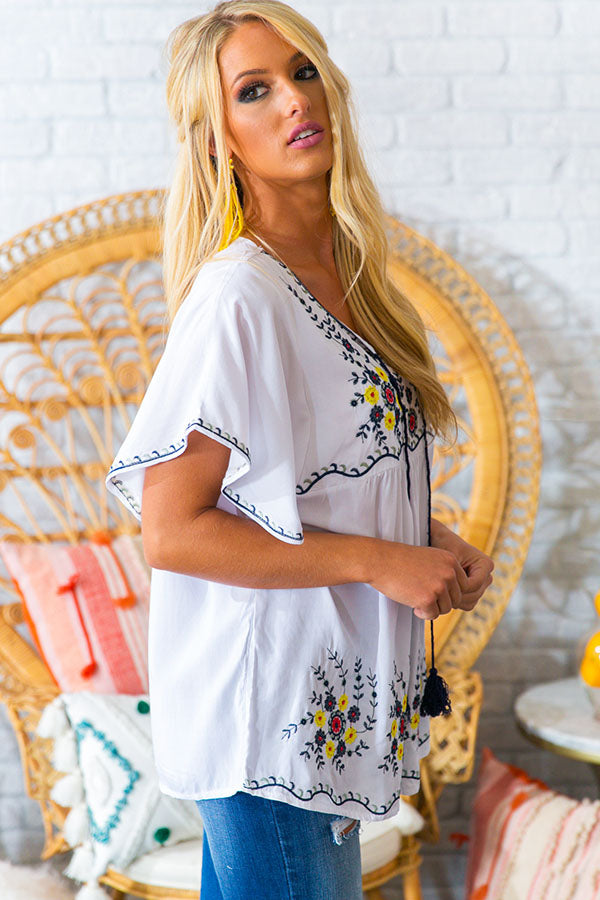 Champagne Island Embroidered Top
