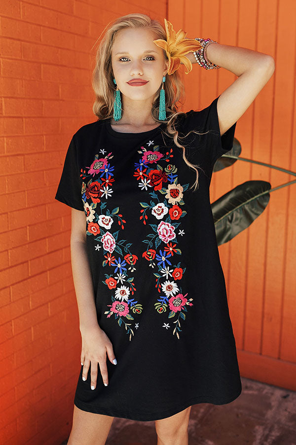 Cabo Chic Embroidered T-shirt Dress in Black