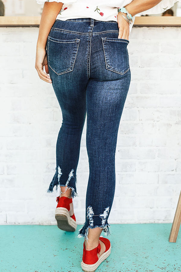 The Quinn Mid Rise Distressed Skinny