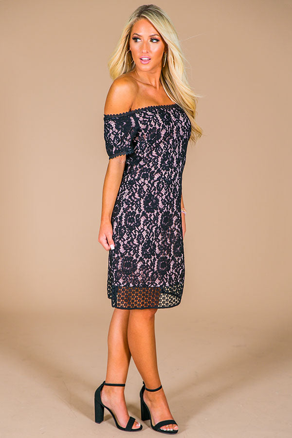 Off The Market Lace Dress in Black