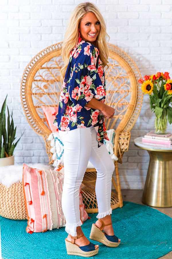 Garden Mingle Floral Shift Top in Navy