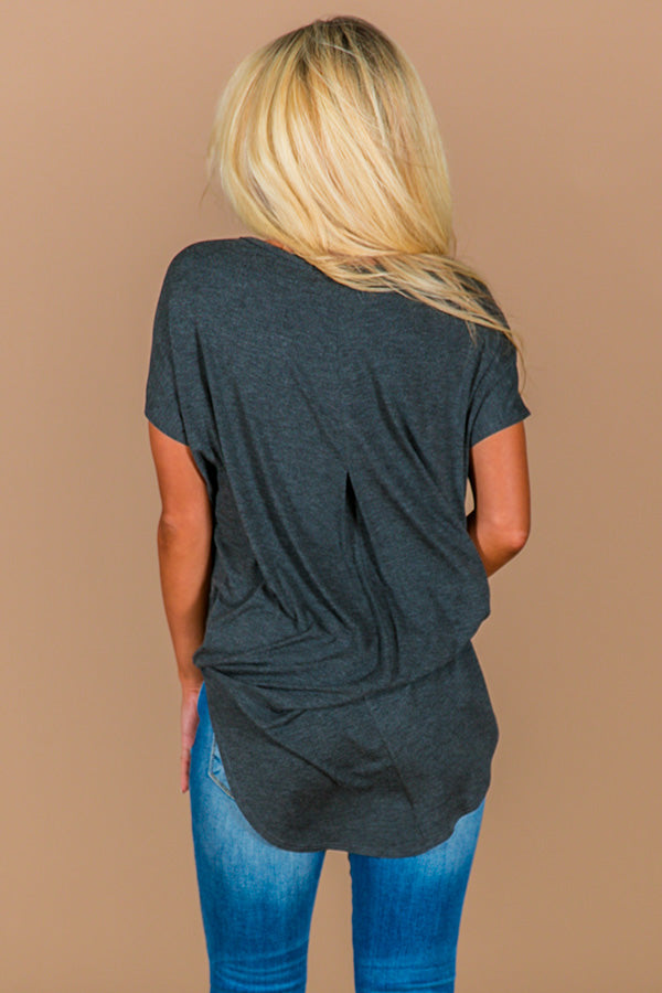 Hip For Happy Hour Shift Tee in Charcoal