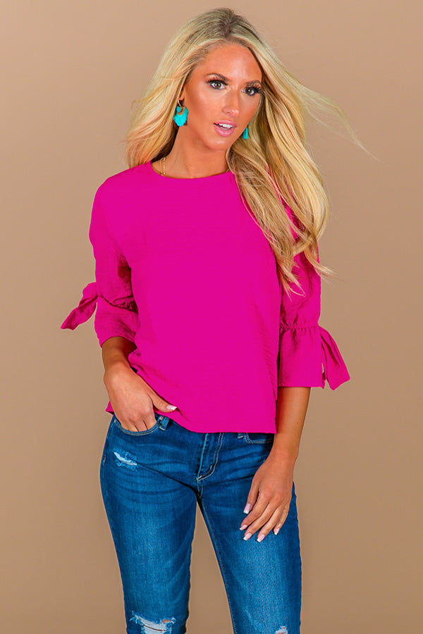Cocktail Queen Shift Top in Fuchsia