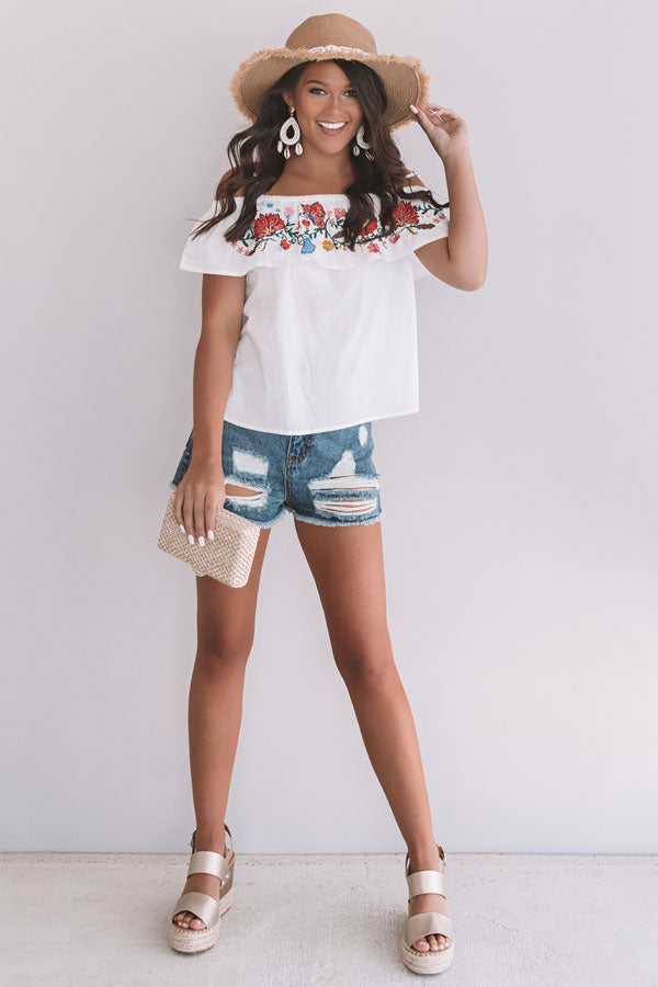bbc098ba2 Mango Margs Embroidered Off Shoulder Top in White • Impressions Online  Boutique