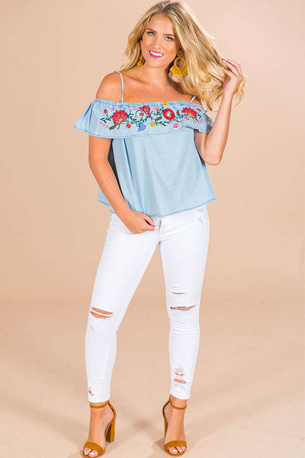 cba411cee Mango Margs Embroidered Off Shoulder Top in Blue • Impressions Online  Boutique