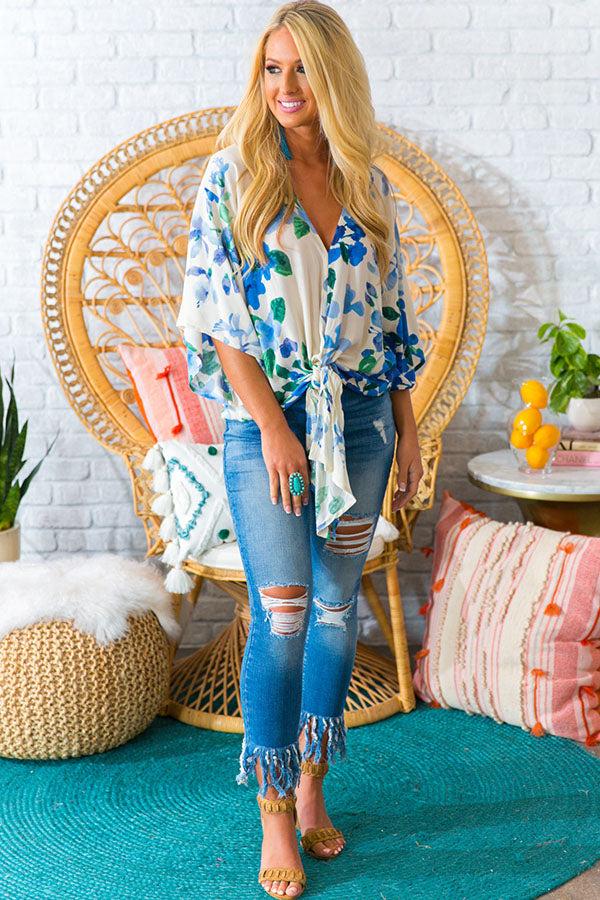 Cocktail Hour Shift Top in Blue Floral