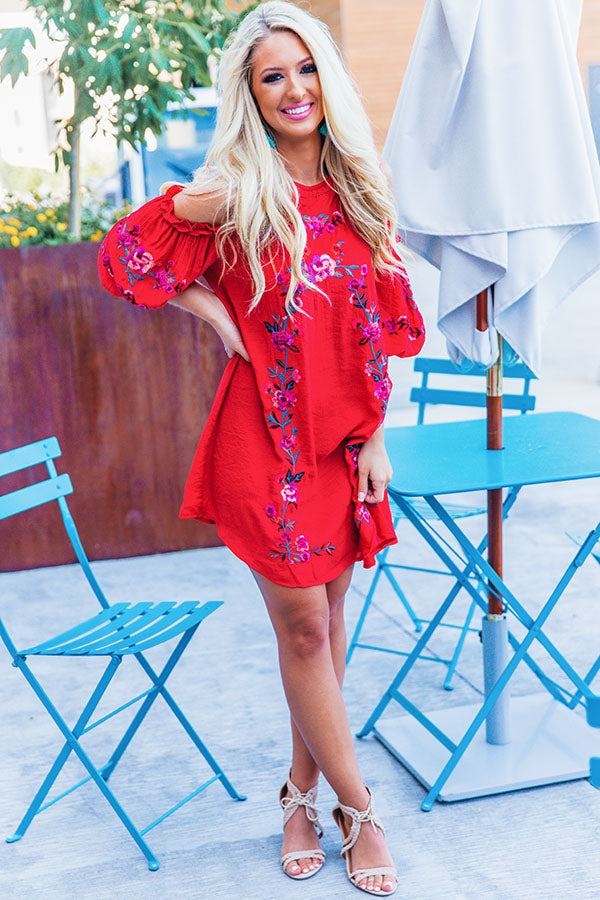 Paradise Is Calling Embroidered Shift Dress in Red
