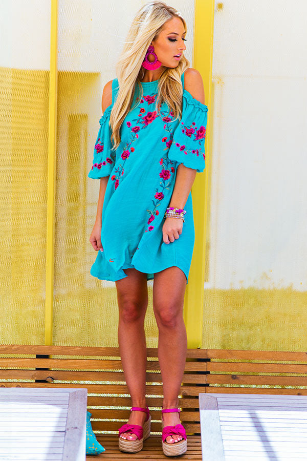 Paradise Is Calling Embroidered Shift Dress in Turquoise
