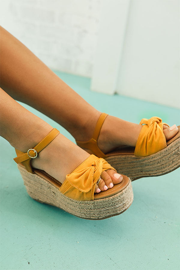 The Giselle Bow Wedge in Mustard