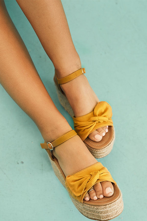 688306ba5b8 The Giselle Bow Wedge in Mustard • Impressions Online Boutique