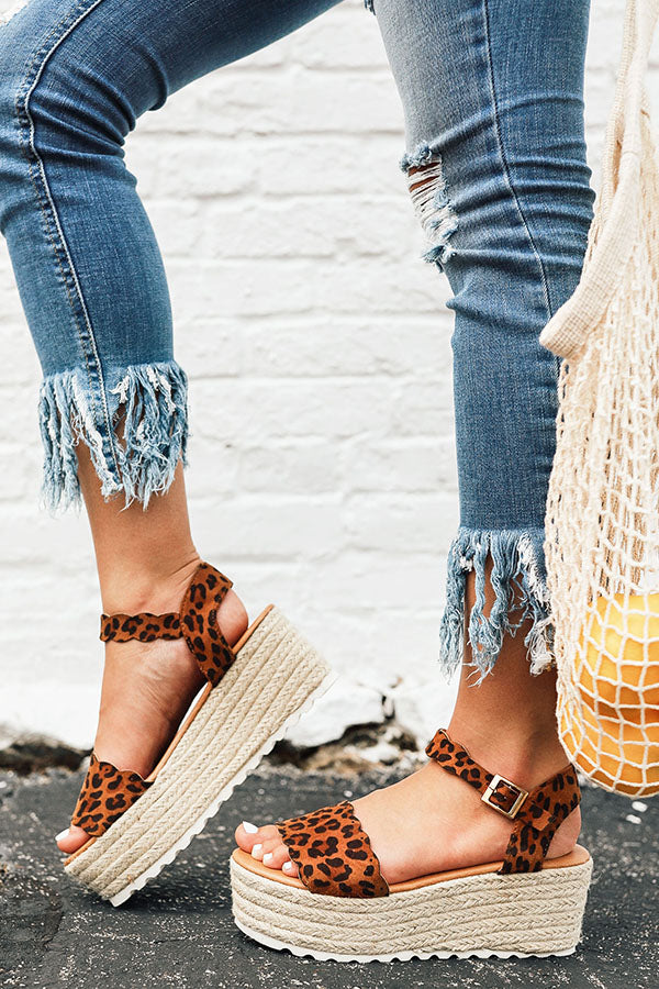 Seaside Heights Scallop Espadrille in Leopard