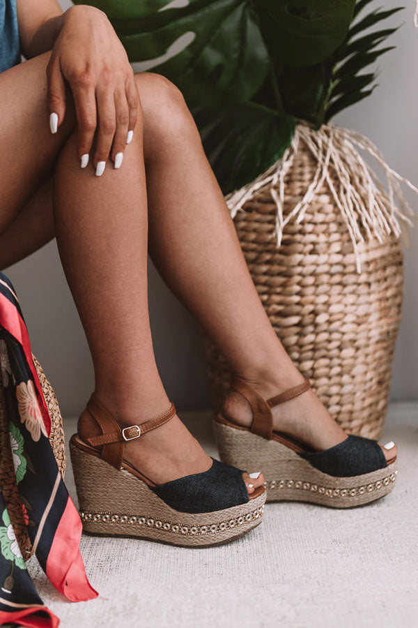 The Key Largo Wedge in Denim
