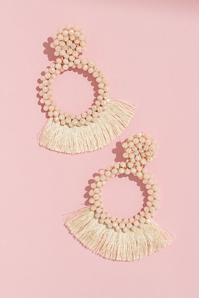 Girly And Glamorous Earrings In Ivory