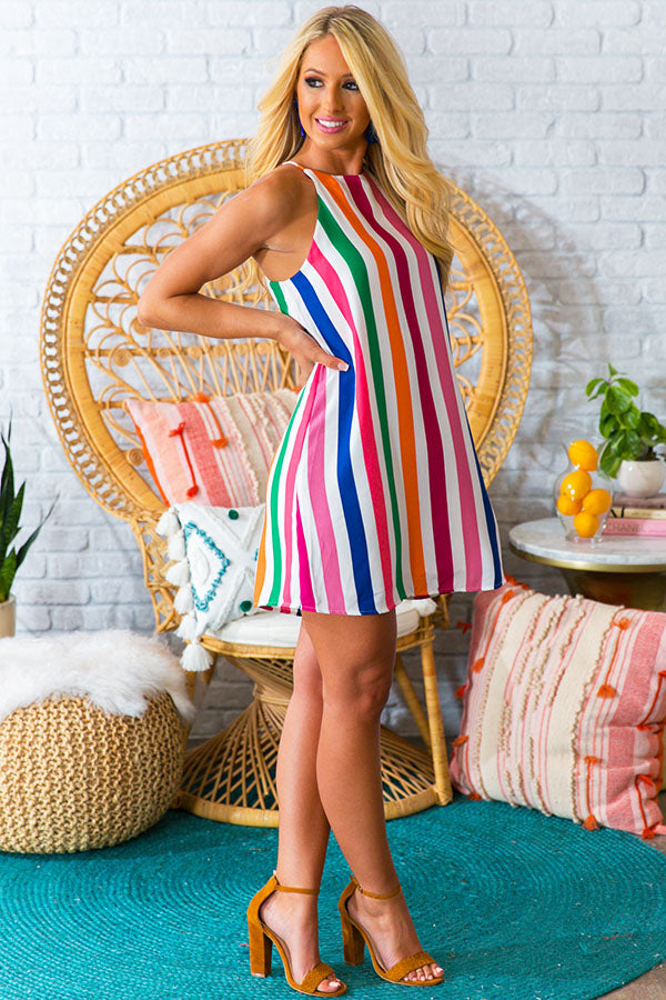 Cabo Stripe Shift Dress in Blush