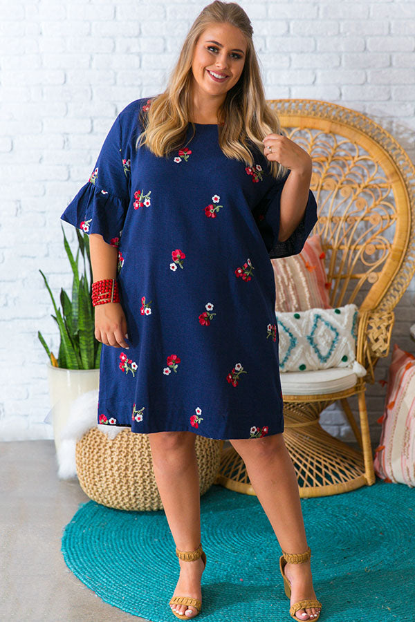 Poppy Perfection Embroidered Shift Dress
