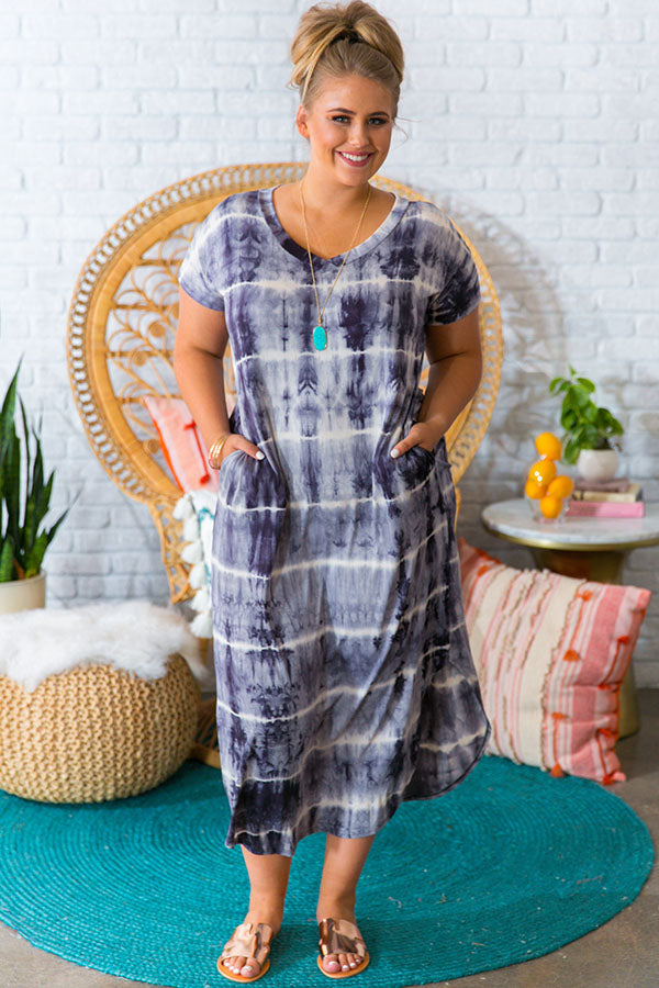 Stargazer Tie Dye Maxi Dress in Charcoal