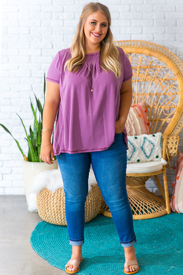 Call Me Comfy Shift Tee in Purple