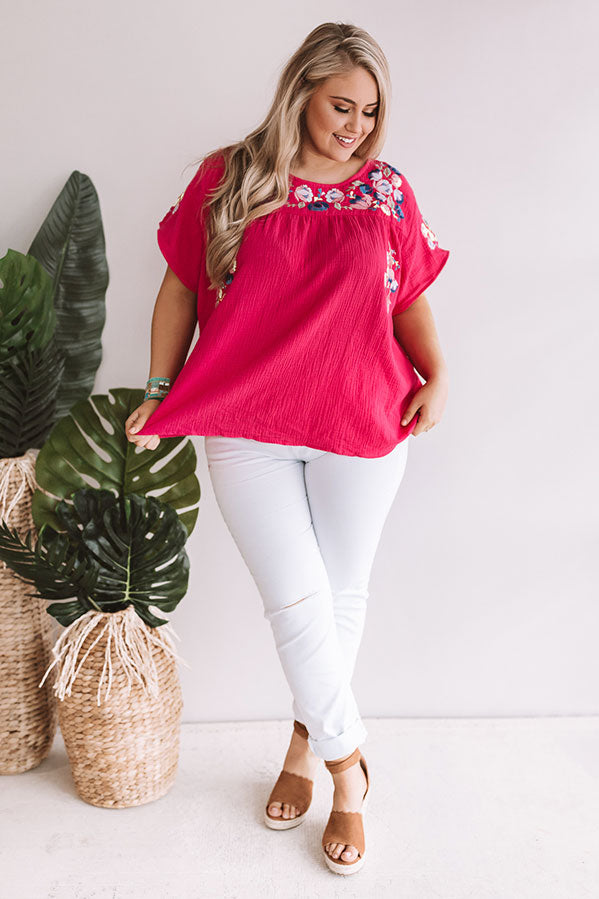 Bombshell Of Summer Embroidered Shift Top In Hot Pink