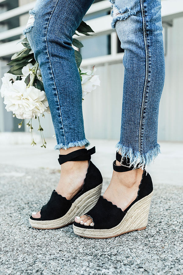 The Emerson Scalloped Wedge in Black