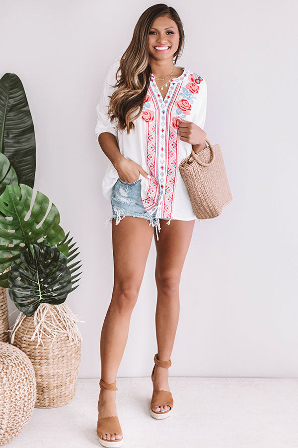 Sitting Pretty Seaside Embroidered Shift Top In White