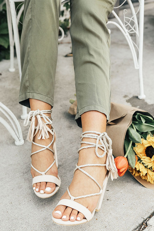 The Kris Lace Up Heel in Stone