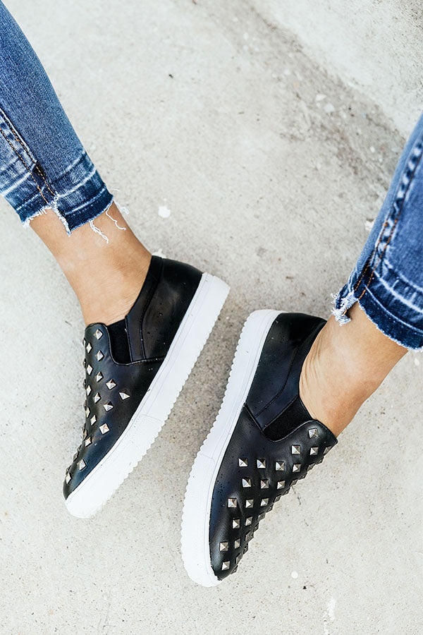 The Katey Faux Leather Sneaker in Black