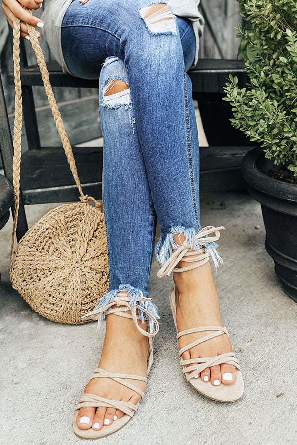 The Liliana Lace Up Sandal in Iced Latte
