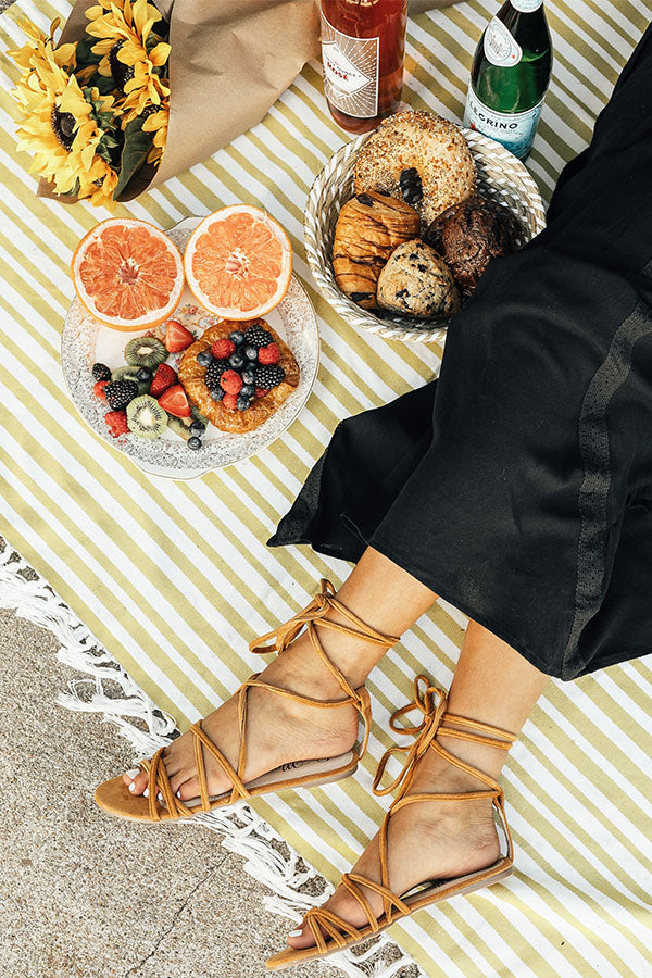 The Liliana Lace Up Sandal in Camel
