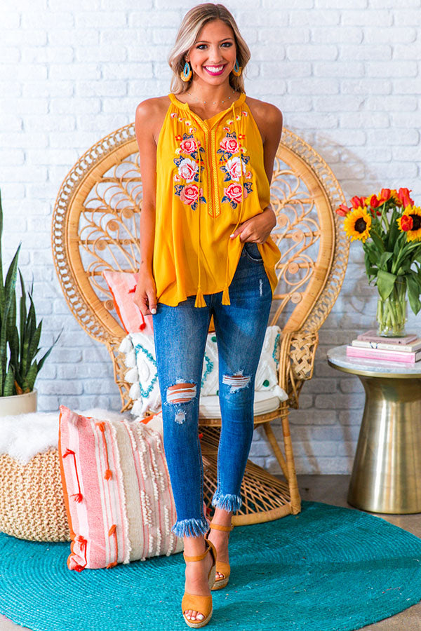 Bahamas Beach Party Embroidered Tank In Marigold