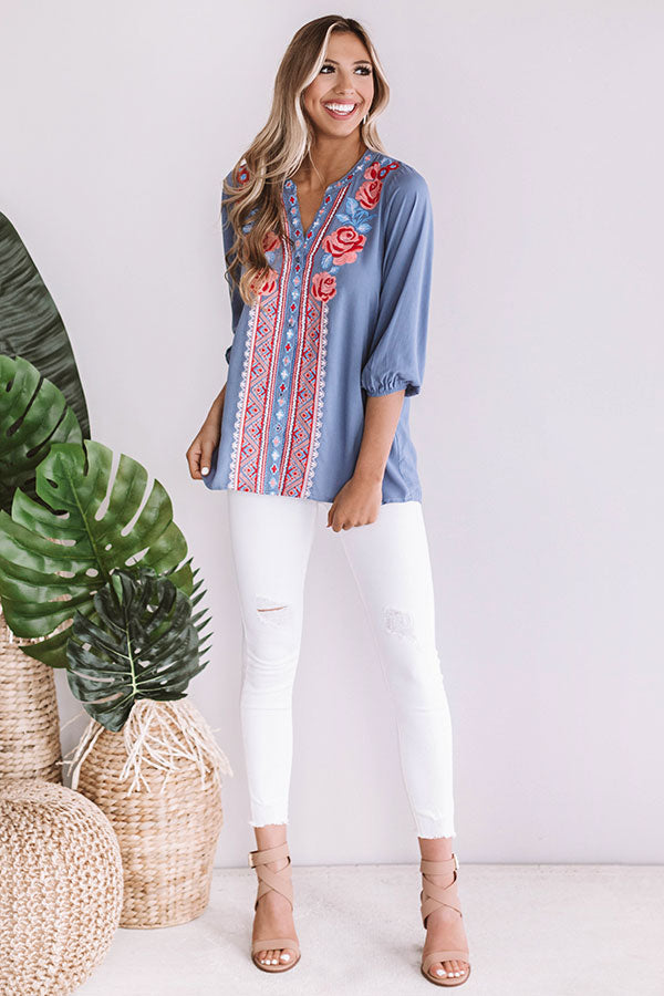 Sitting Pretty Seaside Embroidered Shift Top In Periwinkle