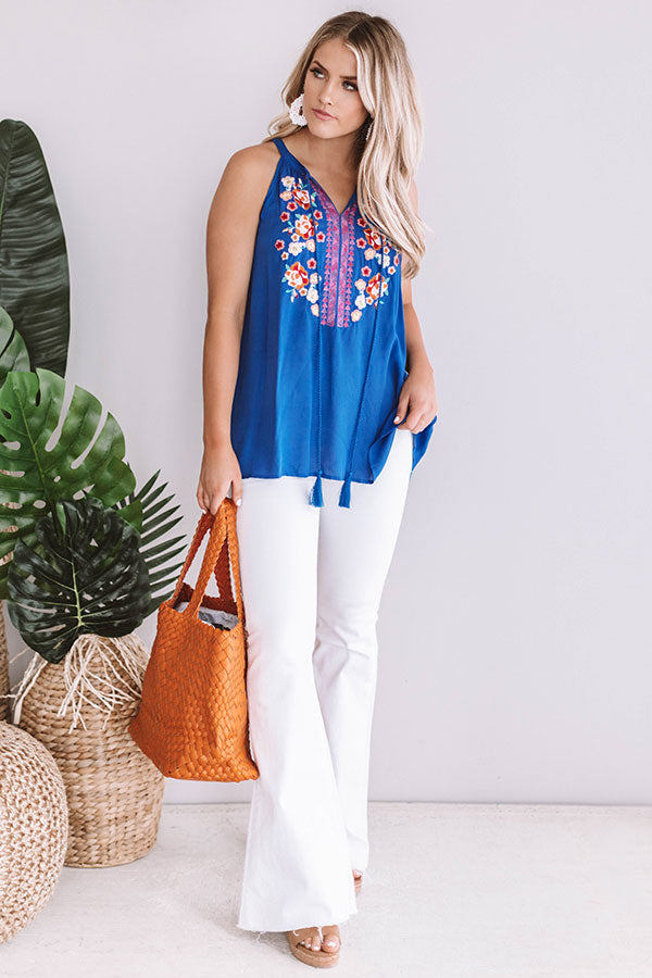 Beauty And The Beach Embroidered Tank