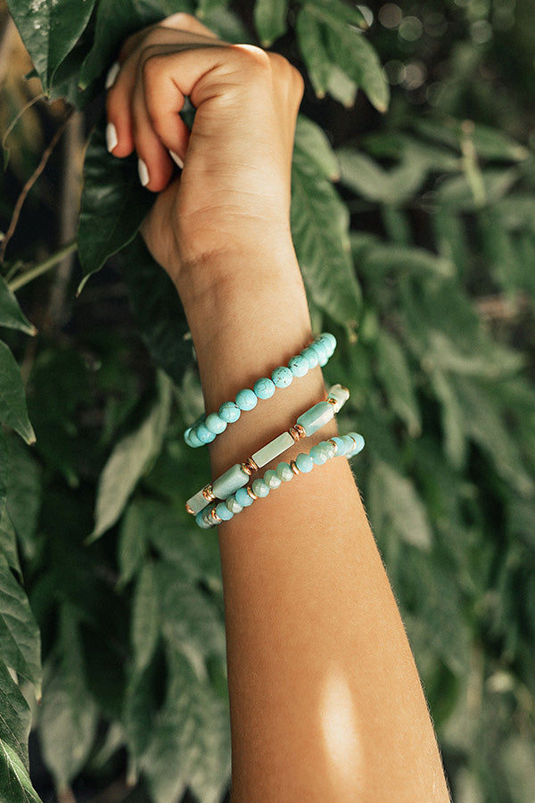 Big City Dreaming Bracelet Set In Aqua Sky